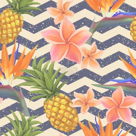 Illustration pour Fleurs exotiques tropicales et fond sans couture d'ananas - image libre de droit