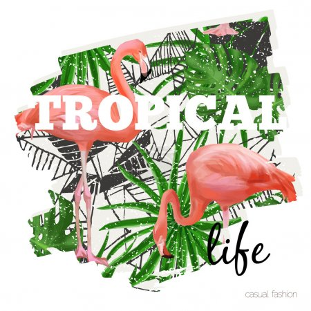 Tropical graphic with slogan in vector