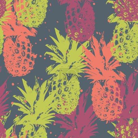 Illustration pour Modèle sans couture avec ananas. Fond de fruits exotiques - image libre de droit
