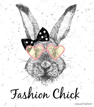 Illustration pour Impression vectorielle de lapin mignon. Impression mode vintage - image libre de droit