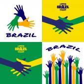 Set of colorful up hands icons using Brazil flag colors 2016 Hands vector Icon logo emblem using Brazil flag colors Hand shake logo using Brazil background flag colors Vector illustration