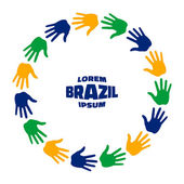 Colorful fifteen hand print icon using Brazil flag colors Vector illustration