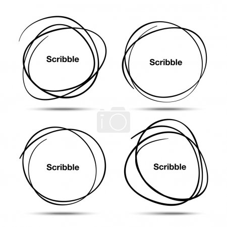 Illustration for Set of Hand Drawn Scribble Circles, vector design elements - Royalty Free Image