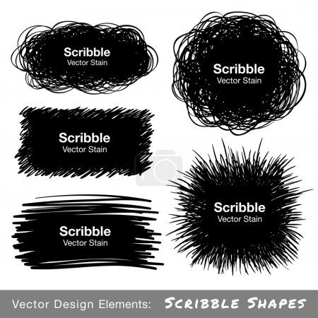 Illustration for Set of Hand Drawn Scribble Shapes, vector design elements - Royalty Free Image