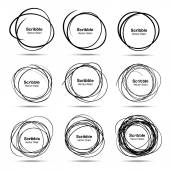 Set of 9 Hand Drawn Scribble Circles vector design elements