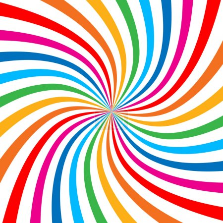 Illustration pour Coloré Arrière-plan spirale arc-en-ciel lumineux. Élément de conception de logo vectoriel - image libre de droit