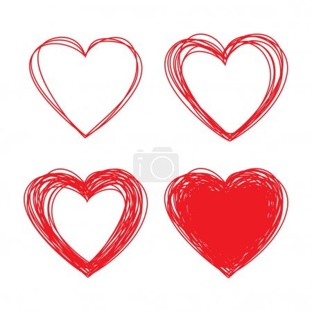 Illustration for Set of Hand Drawn Scribble Hearts, vector design elements - Royalty Free Image