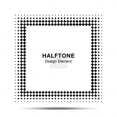 Illustration for Black Abstract Halftone Square Frame Background  for your design - Royalty Free Image