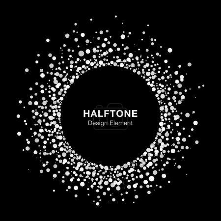 White Abstract Halftone Circle Frame Logo Design Element