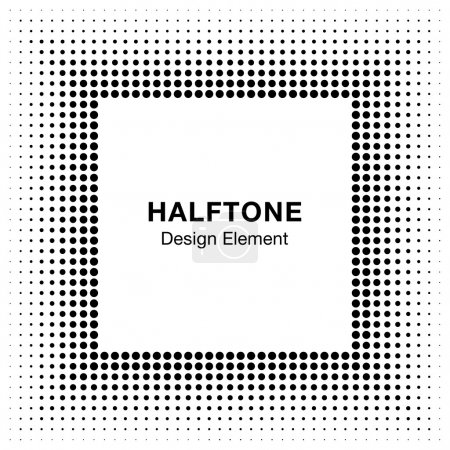 Black Abstract Halftone Square Frame Background