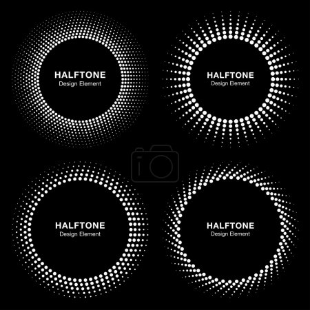 Set of Black Abstract Halftone Circle Frame Logo