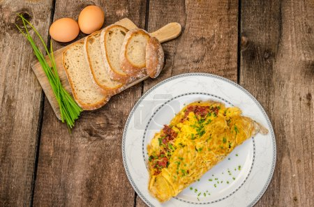 Omelet with bacon and cheese