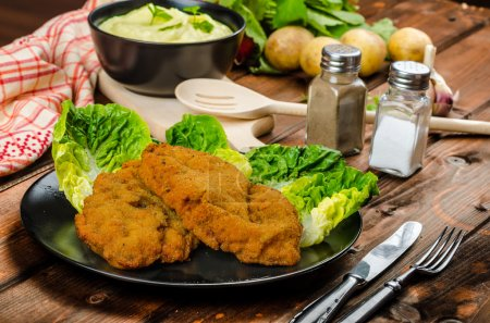 Photo for Wiener Schnitzel with mashed potato, veal meal, original and delicious - Royalty Free Image