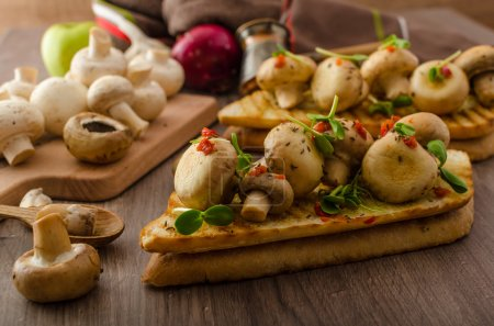 Photo pour Wild mushrooms on baked toast with microgreens and chilli - image libre de droit