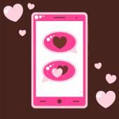Růžový mobilní telefon