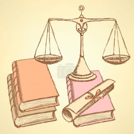 Illustration for Sketch waage with books and scroll diploma, backgroun - Royalty Free Image