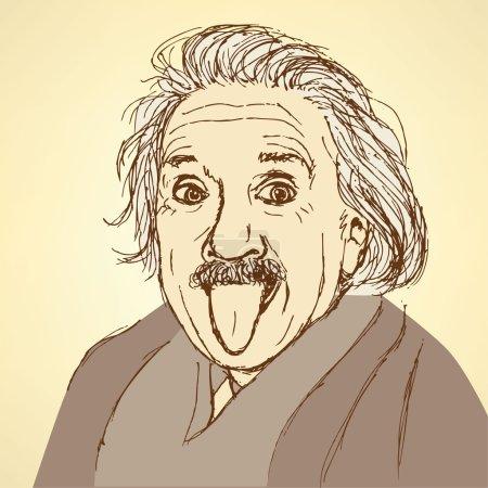 Эскиз Альберта Эйнштейна в винтажном