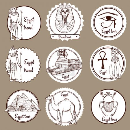 Sketch set of Egypt labels in vintage style, vecto...