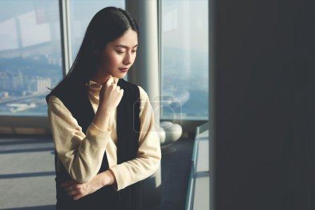 Young woman enjoying city view