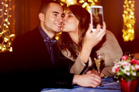 Young couple making selfie