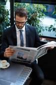 Businessman sitting in a coffee shop