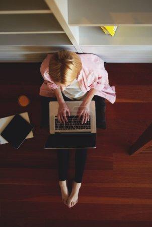 Female freelancer busy working