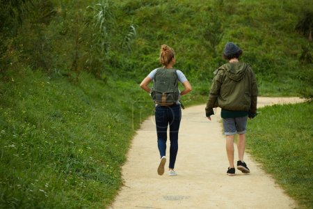 Couple hiking on a mountain trail