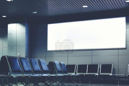 Blank billboard indoors