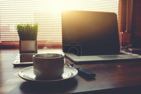 Home freelance desktop with laptop computer