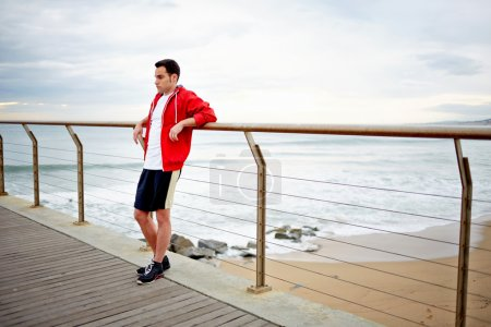 sportsman resting after active physical exercise