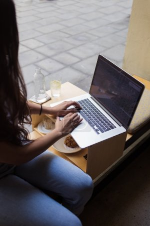 Young student girl working on net-book