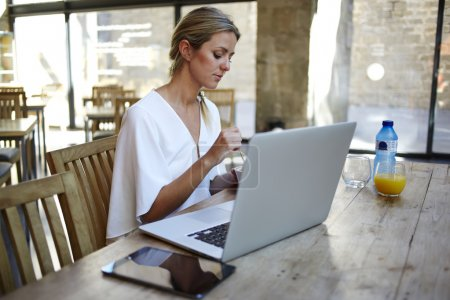 Freelancer sitting with her net-book and digital tablet