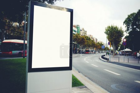 Photo for Illuminated blank billboard with copy space for your text message or promotional content - Royalty Free Image