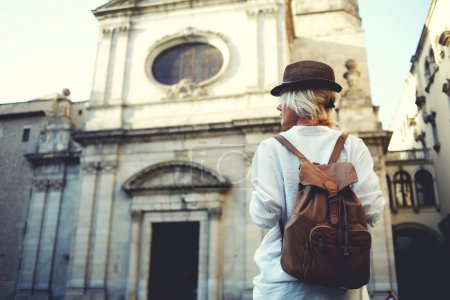 woman tourist with backpack