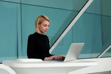 businesswoman searching information in internet