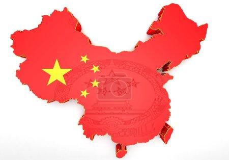 Photo pour Carte 3D de la Chine en couleurs du drapeau chinois . - image libre de droit