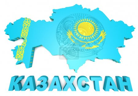 map illustration of Kazakhstan with flag