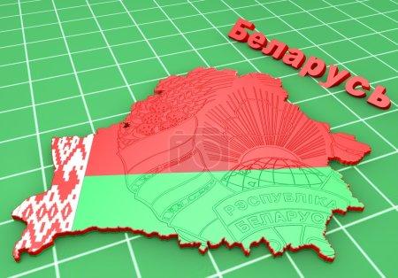Photo pour Illustration 3d de carte de la Biélorussie avec le manteau des bras - image libre de droit