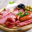 Catering platter with different meat and cheese pr...