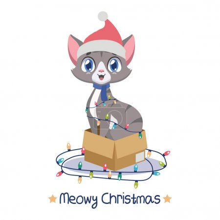 Illustration for Jolly cat sitting in a cardboard box surrounded by Christmas lights - Royalty Free Image
