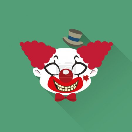 Illustration for Evil Clown Halloween monster icon - Royalty Free Image