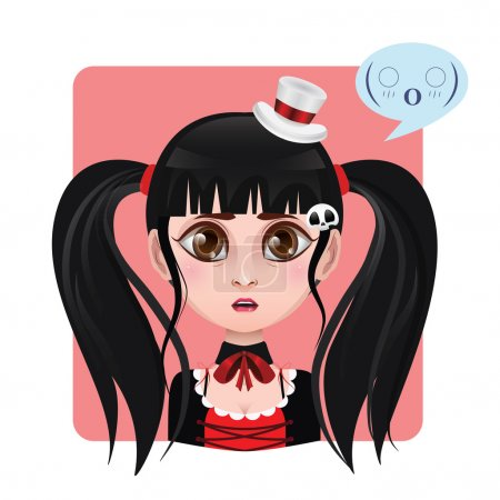Illustration for Cute girl expression - Shocked. Icon - Royalty Free Image