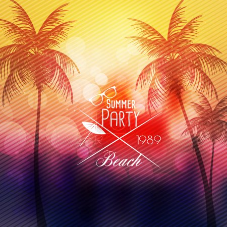 Illustration for Summer Beach Party Flyer Template - Vector Illustration - Royalty Free Image