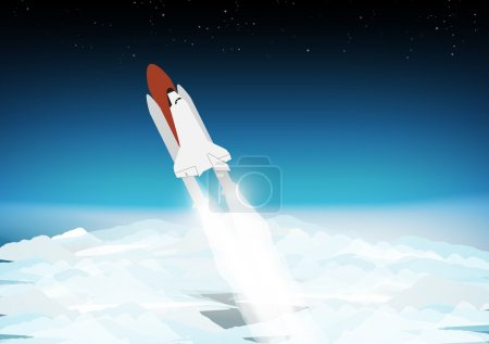 Space Shuttle Above the Clouds - Vector Illustration