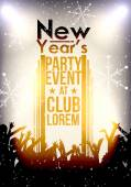 Happy New Year Party Event Background with Crowd