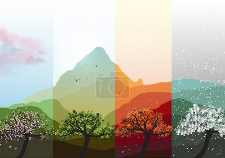 Four Seasons Banners Spring, Summer, Fall, Winter with Abstract Trees and Mountains  - Vector Illustration