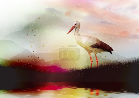 Abstract Low Poly White Stork near a Lake with Reflection - Vector Illustration