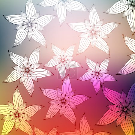 Abstract Tropical Flower Background - Vector Illustration