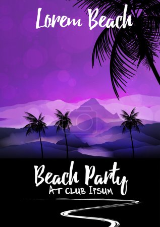 Summer Beach Night Party Flyer Template - Vector Illustration