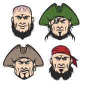 Pirate Mascot Faces Set